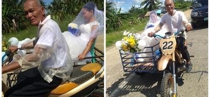 Tatay, ginamit ang sidecar bilang 'bridal car' ng kaniyang babaeng anak na ikakasal