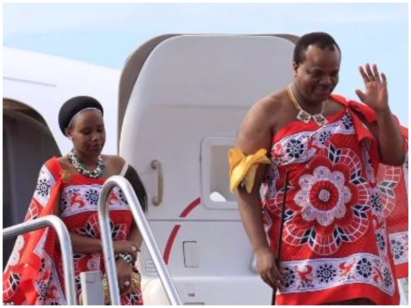 King Mswati III and his new wife.Photo:Facebook.