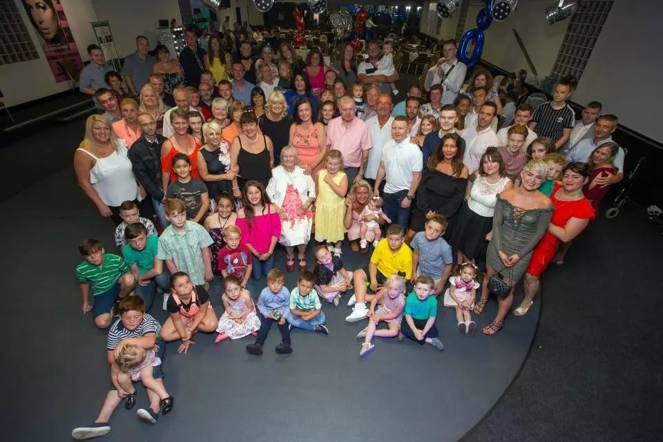 Jessie with her brood on her 90th birthday. Photo: The Sun/Jamie Lorriman