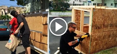 Man saves a homeless woman sleeping in the street by building a real house for her