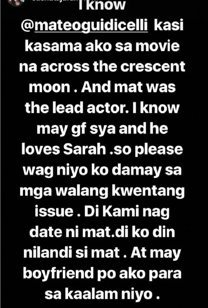 Model Sasha Tajaran breaks her silence on rumors that she is trying to steal Matteo Guidicelli from Sarah Geronimo