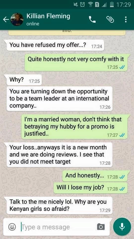 See a leaked conversation showing a boss demanding for sex from an employee