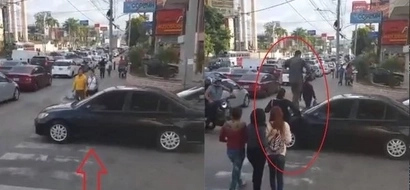 Ayan tuloy! This car got made fun of pedestrians because of his disrespectful action