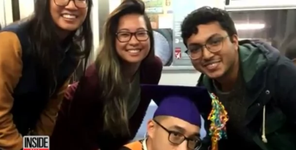 Certificate of good job! Student graduates on subway following 2 hour delay that made him miss main event (photos)