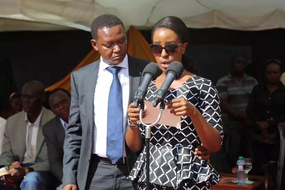 Mkewe gavana wa Machakos ahuzunika pakubwa katika matanga ya mlinzi wake (picha)