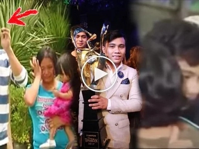 Tawag champ Noven Belleza cries buckets of tears when he saw family in Manila for the first time after winning