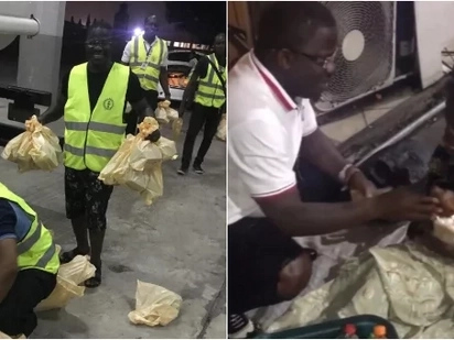 Kind man helps the old, homeless and the hungry people on streets and puts smile on their faces