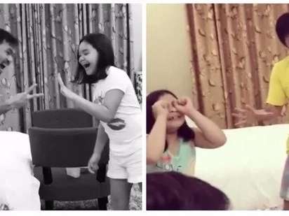 Manny Pacquiao plays Jak en Poy with his daughters Princess and Queenie – who won in both games?