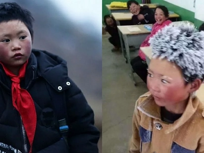 Frost Boy: Community helps an 8 year old Chinese boy's hair was frozen after his walk to school