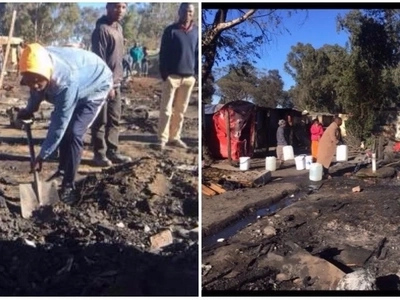 Families sleep outside in the cold after fire ravages their shacks
