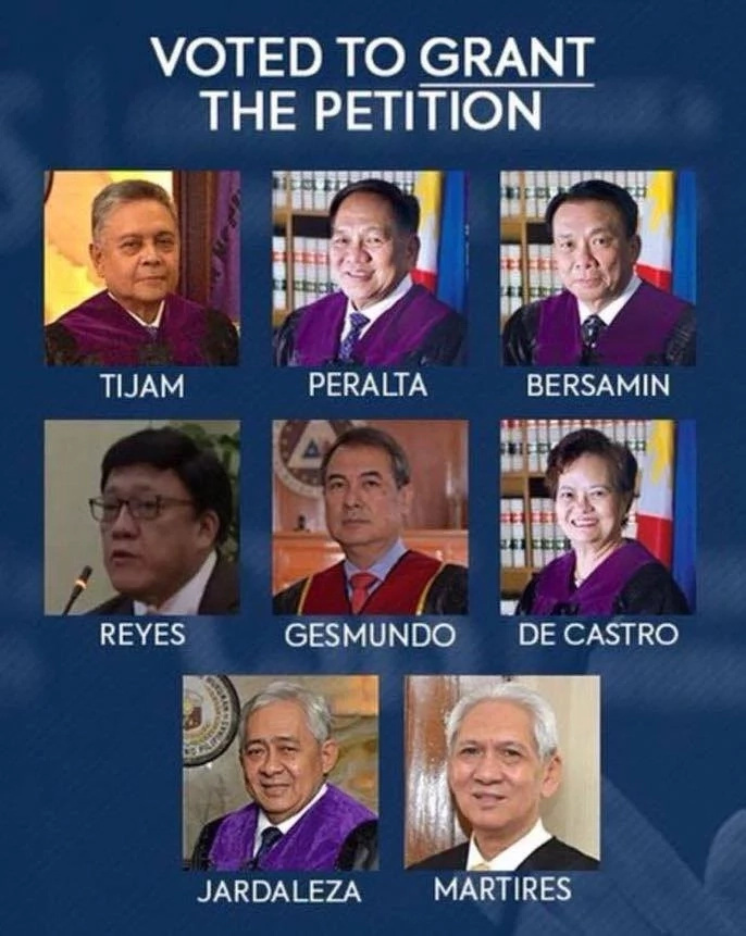 Supreme Court votes for ouster of Chief Justice Sereno