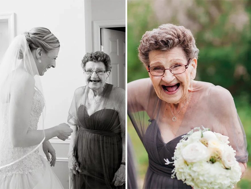 Amazing! 89-year old bridesmaid is the life of the party!