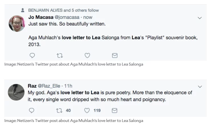 'She's the one that got away and she never knew'. Aga Muhlach on Lea Salonga in 2013 viral 'love letter'