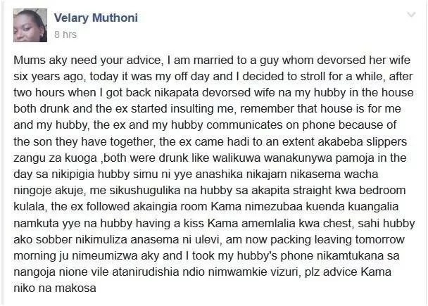 Hadithi ya huzuni ya mwanamke Mkenya aliyempata mumewe na mwanamume mwingine
