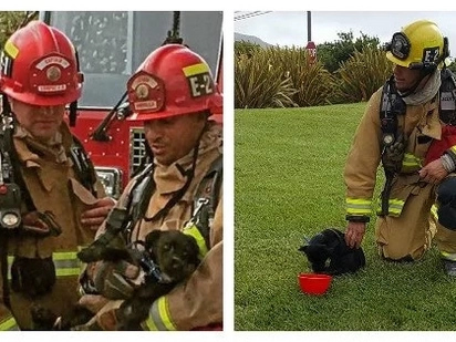 Firefighters rush inside burning house to save a puppy. When they found him, he was tied up inside an overturned box