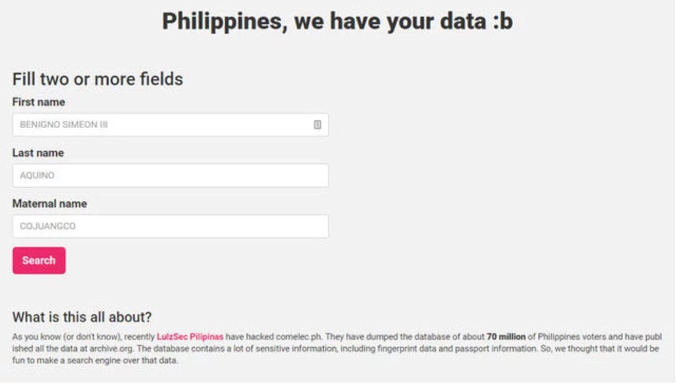 BREAKING: Hacked Comelec voters' data searchable online