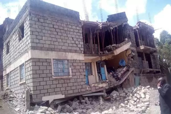 Building under construction collapses in Juja
