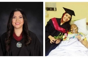 Pagbigyan na natin si ate! College graduate takes home borrowed toga and brings it to mom in the hospital