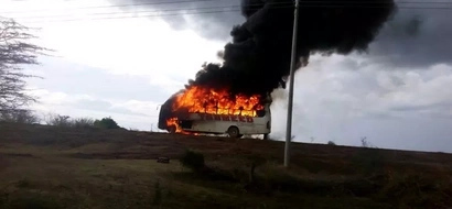 Lamu bus mysteriously catches fire, burns to ashes(photos)