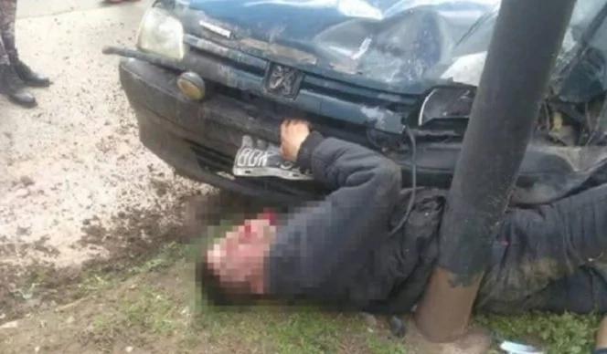 Carnicero persiguió a un delincuente y lo aplastó con su auto