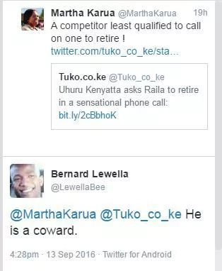Uhuru asks Raila to retire, Martha Karua doesn't like that and retorts angrily