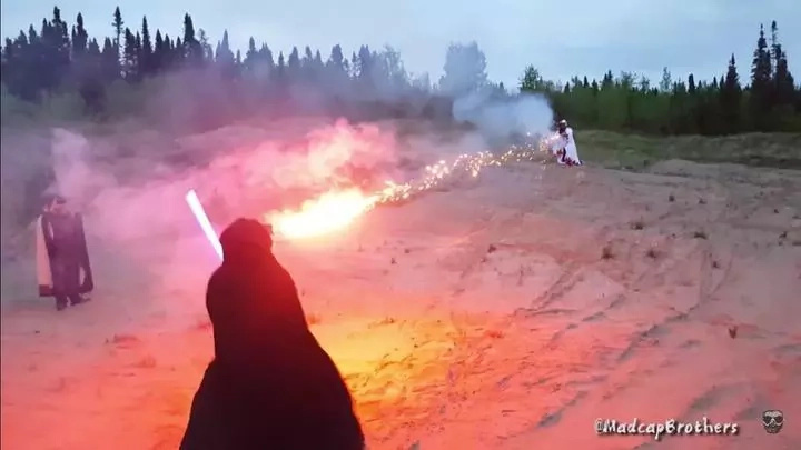 Place your bets! Youtubers recreate a real wizard vs jedi fight!