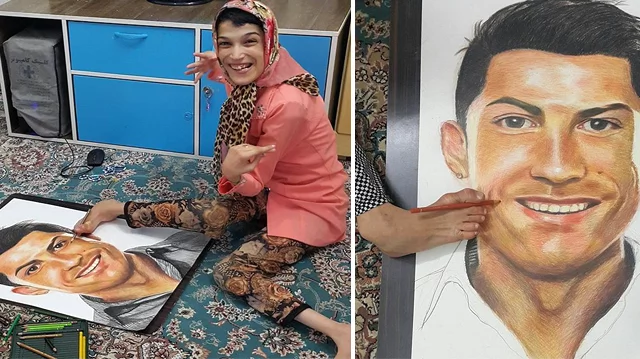 Wow! Disabled female artist draws incredible portraits of Cristiano Ronaldo using her feet
