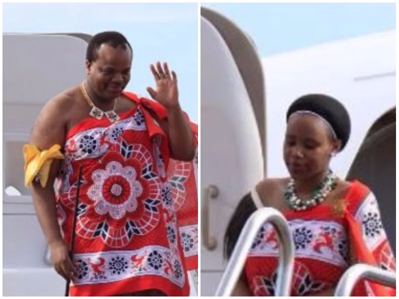 King Mswati III (left) and his new bride Siphelele Mashwama,19.Photo:Facebook.