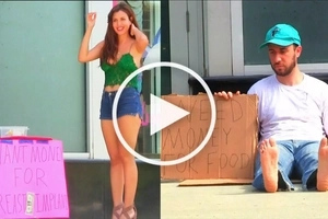 VIDEO: Who will the people help? GIRL who needs BREAST implants or man who needs FOOD?