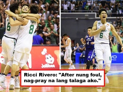 Dasal lang talaga! La Salle's Ricci Rivero prayed hard before sinking those winning free throws against Ateneo