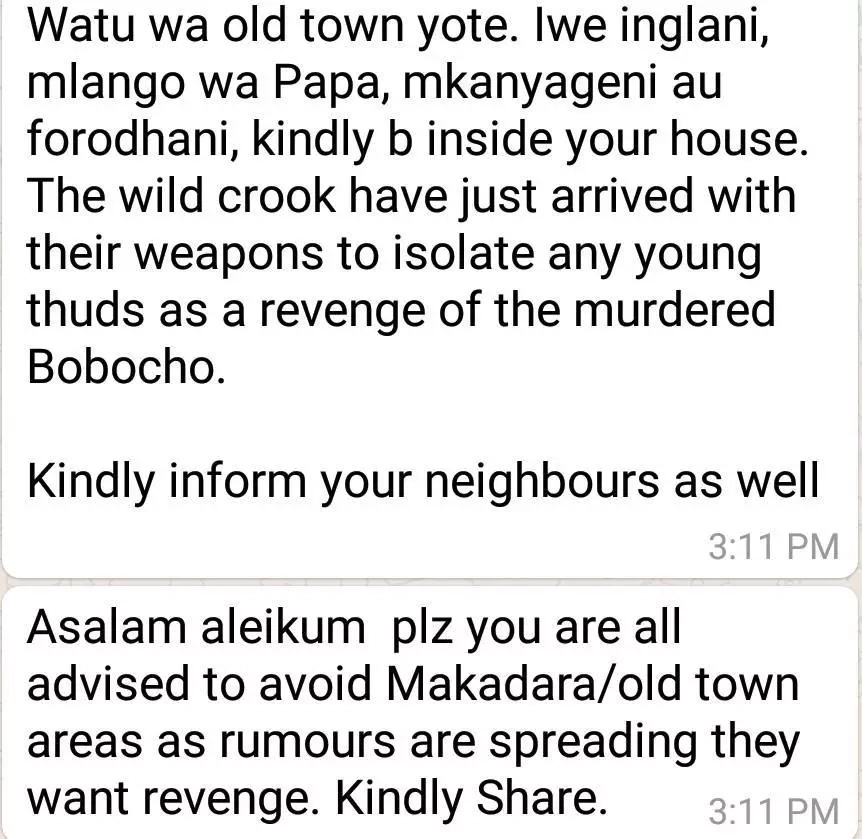 Bobocha's gang takes to the streets of Mombasa on revenge mission, residents warned to remain indoor