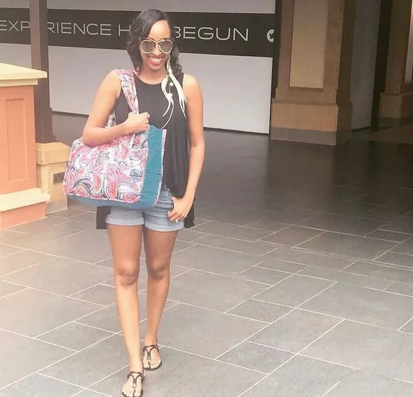 Citizen TV's Janet Mbugua shows off her playful side in a tiny pair of shorts