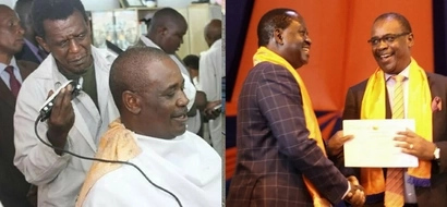 Kidero getting a close shave in a local kinyozi (photo)