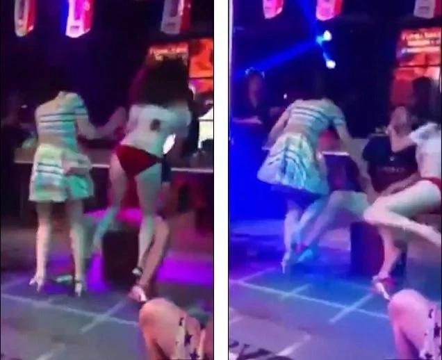 Furiosa novia empuja a stripper mientras arrastra a su novio fuera del escenario