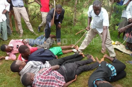 Photos: Eldoret residents beat students reportedly in group sex