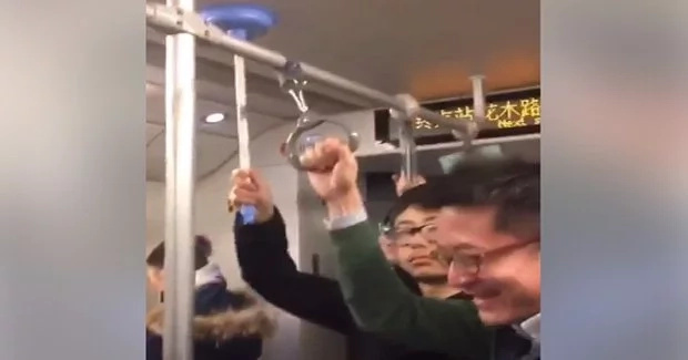 Chinese guy uses toilet pump as handrail