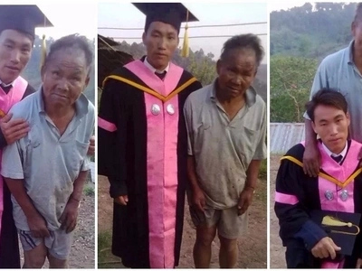 A dad's love! This poor farmer sacrificed everything to send his son to school and is now a proud dad