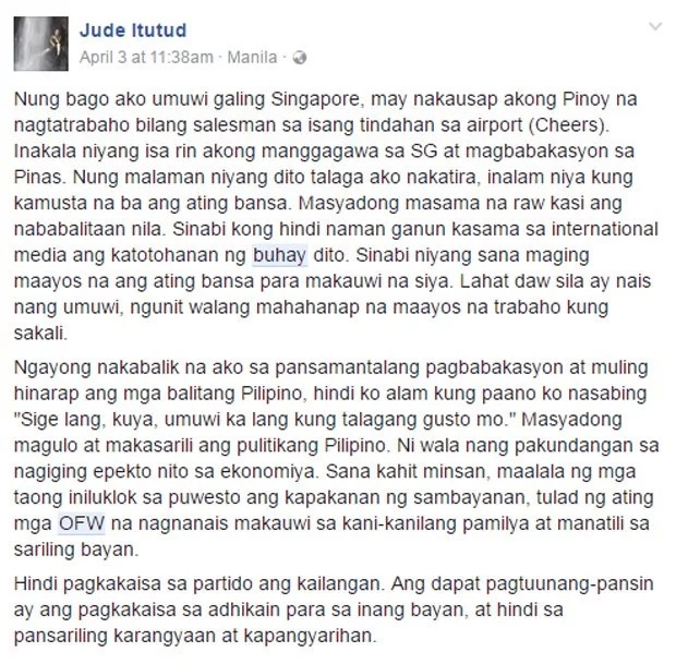 Netizen's post on OFW troubles is a real eye-opener
