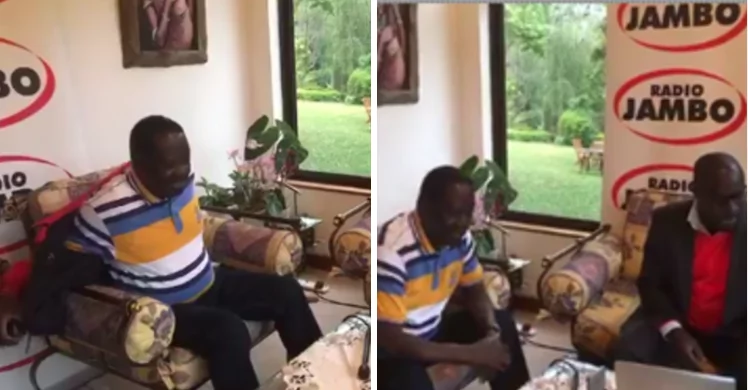 Raila shows up for radio interview dressed in Jubilee's colours but quickly corrects the mistake