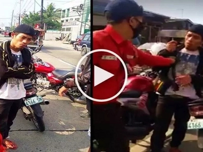 Netizens slam alleged motorcycle thief for acting arrogantly in front of police in Valenzuela City