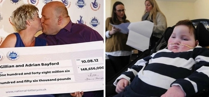 Woman who won HUGE amount of lottery money decides to look after disabled boy's family (photos)
