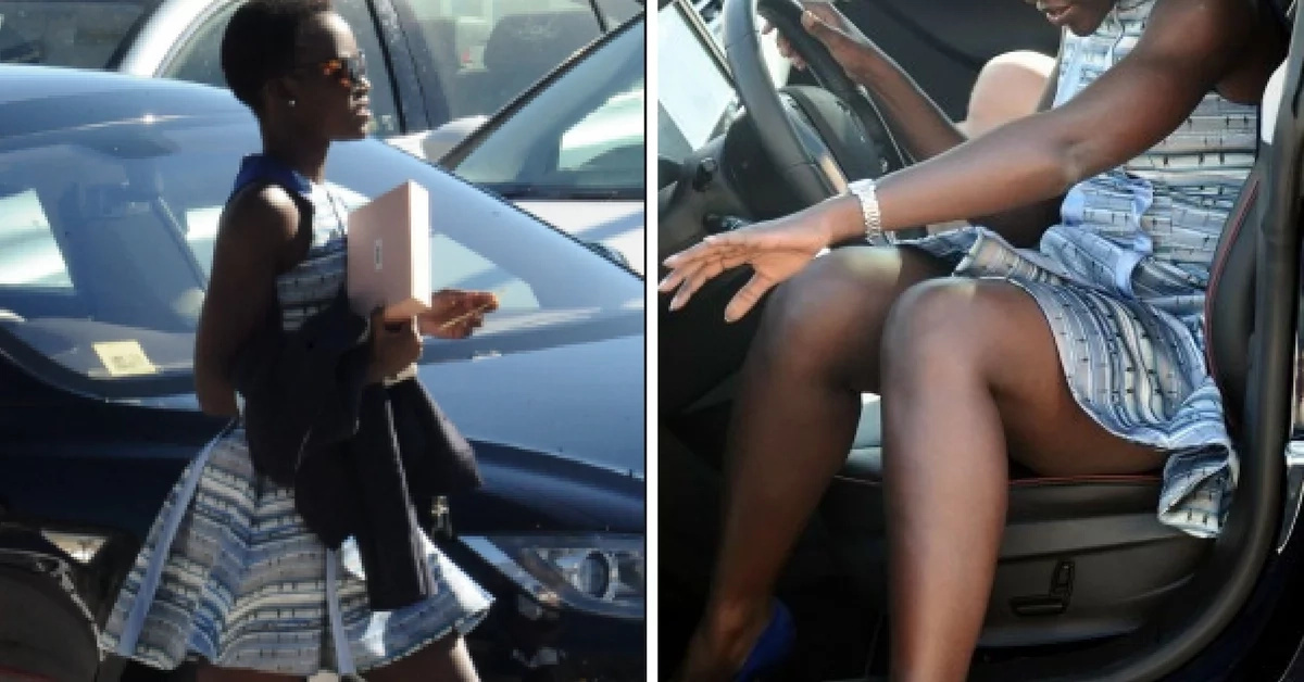 lupita exposes thighs