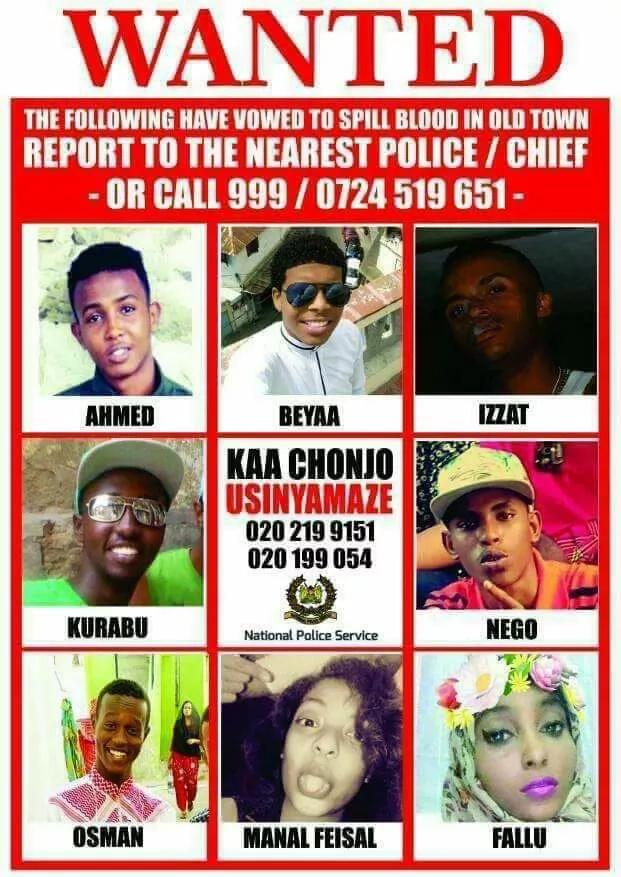 Polisi watoa orodha ya majina ya majambazi hatari Mombasa na wasichana wametajwa