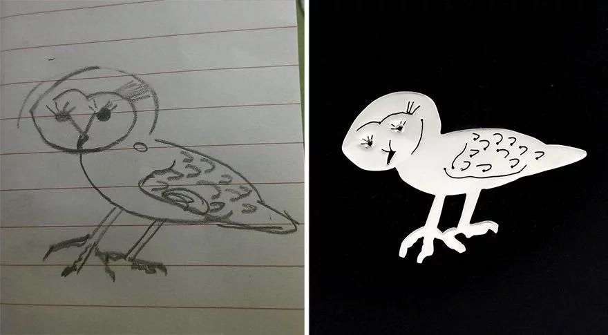 Los dibujos de los niños se convirtieron en joyas