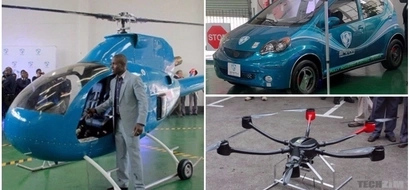 Genius! Zimbabwean inventor showcases his own drone, electric car, helicopter