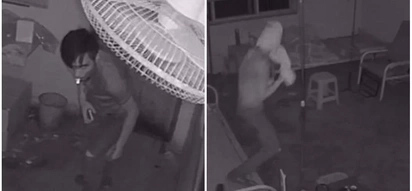 Bizarre! Watch moment burglar wraps his head with toilet paper to hide his face from CCTV camera