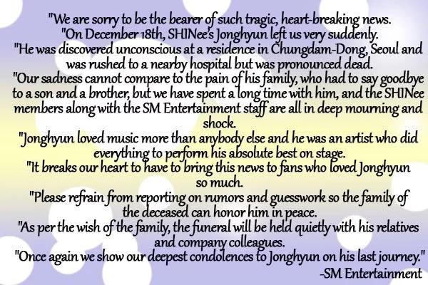Gone too soon! SHINee member Jonghyun dies at 27