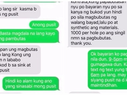 Yung pusit nga ho! Client goes crazy over hired plumber who keeps asking about putting a hole on 'pusit'