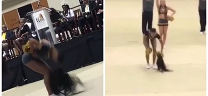 This cheerleader walks out in the middle of their routine after crowd witnessed how her wig fell off her head