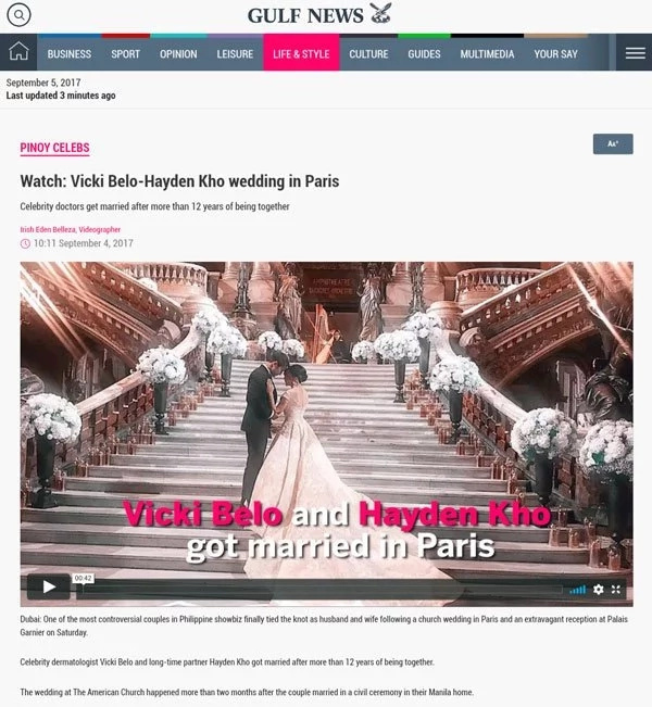 Vicki Belo's wedding gown captures attention all over the world